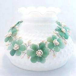 Sublime Green Floral Jade-Freshwater White Pearl Necklace (Thailand)