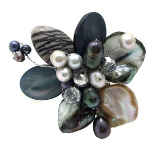 Floral Cluster Hand-Painted Shells and Pearl Pin Brooch (Thailand)
