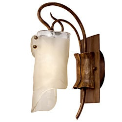Soho 1-light Brown Hammered Ore Ice Glass Light Fixture