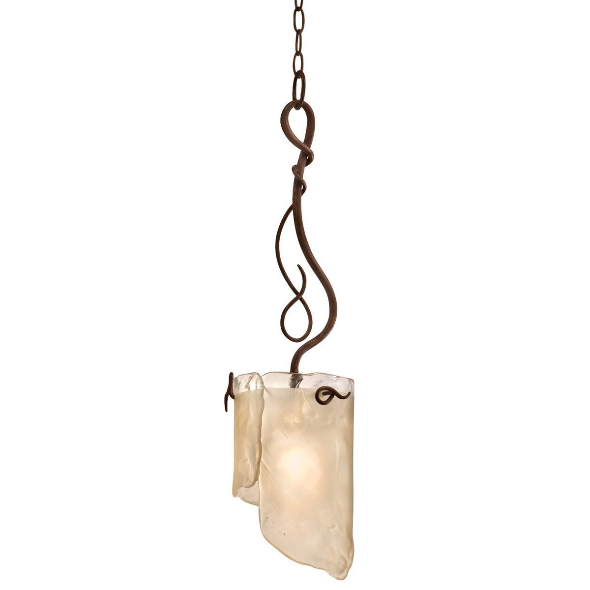 Soho 1-light Brown Hammered Ore Ice Glass Mini Pendant Light Fixture
