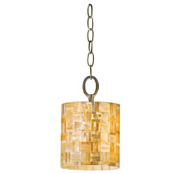 Naturals 1-light Yellow Mother-of-Pearl Shell Mini Pendant Light Fixture