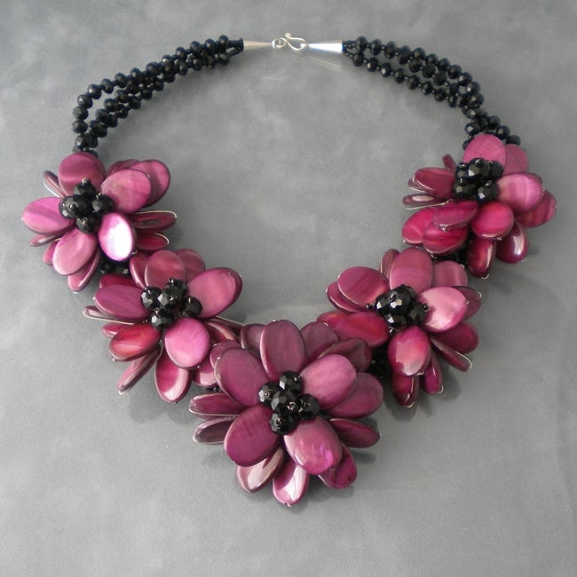 Purple Shell Lotus Floral Handmade Necklace (Thailand)