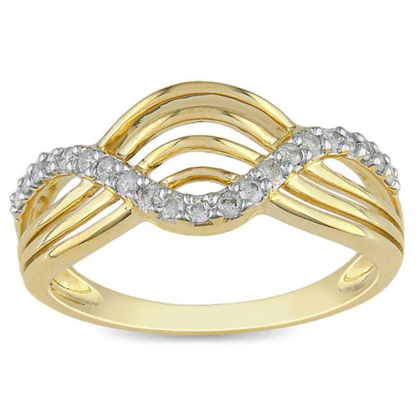 Haylee Jewels 10k Yellow Gold 1/5ct TDW Diamond Ring (H-I, I2-I3)