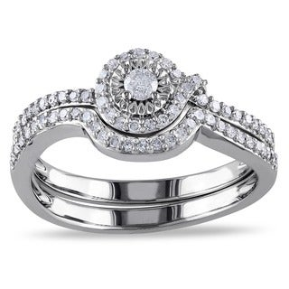 Miadora 10k White Gold 1/3ct TDW Diamond Bridal Ring Set (H-I, I2-I3) with Bonus Earrings