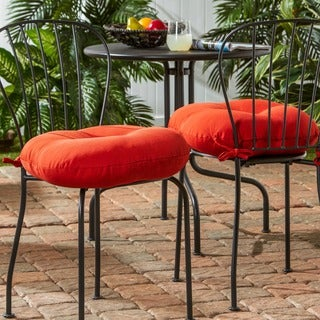 Red 18-inch Round Outdoor Bistro Chair Cushion (Set of 2)