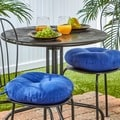 Aqua Blue 15-inch Round Outdoor Bistro Chair Cushion (Set of 2)