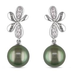 Miadora 10k Gold Tahitian Pearl and 1/6ct TDW Diamond Earrings (H-I, I2-I3) (8-8.5 mm)