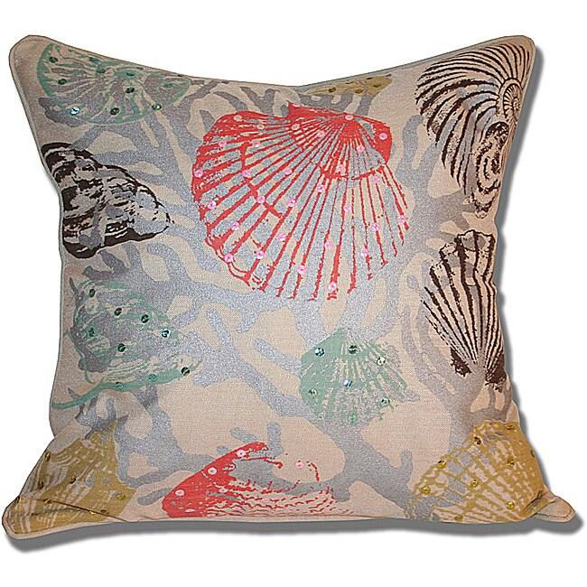 Hannah Watercolor Seashell 18x18-inch Pillow