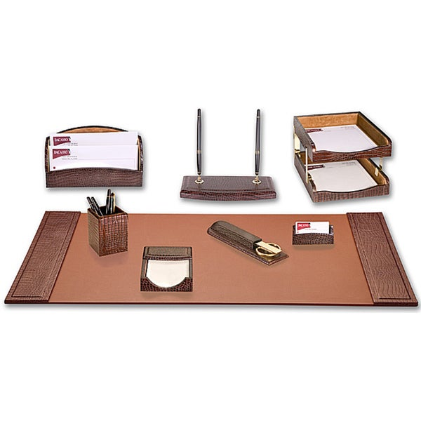 Dacasso Crocodile Embossed Leather 10-piece Desk Set