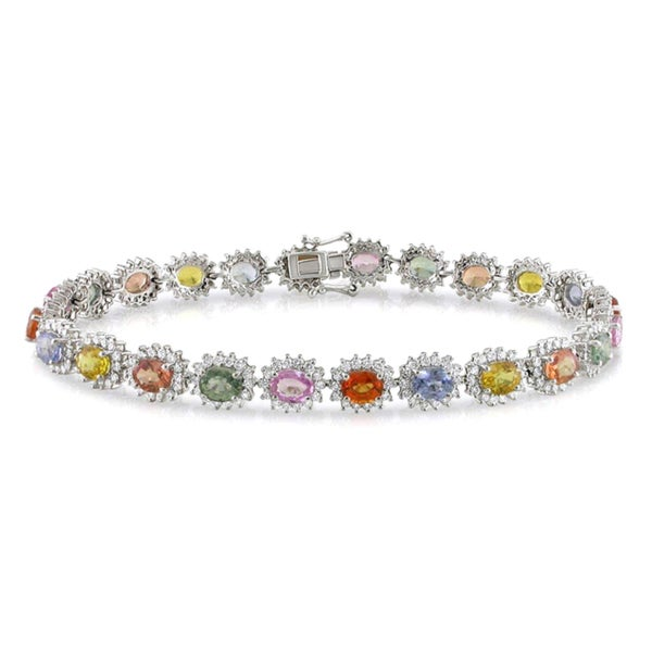 Miadora Signature Collection 18k Gold Sapphire and 2ct TDW Diamond 7.5-inch Bracelet (H-I, SI1-SI2)