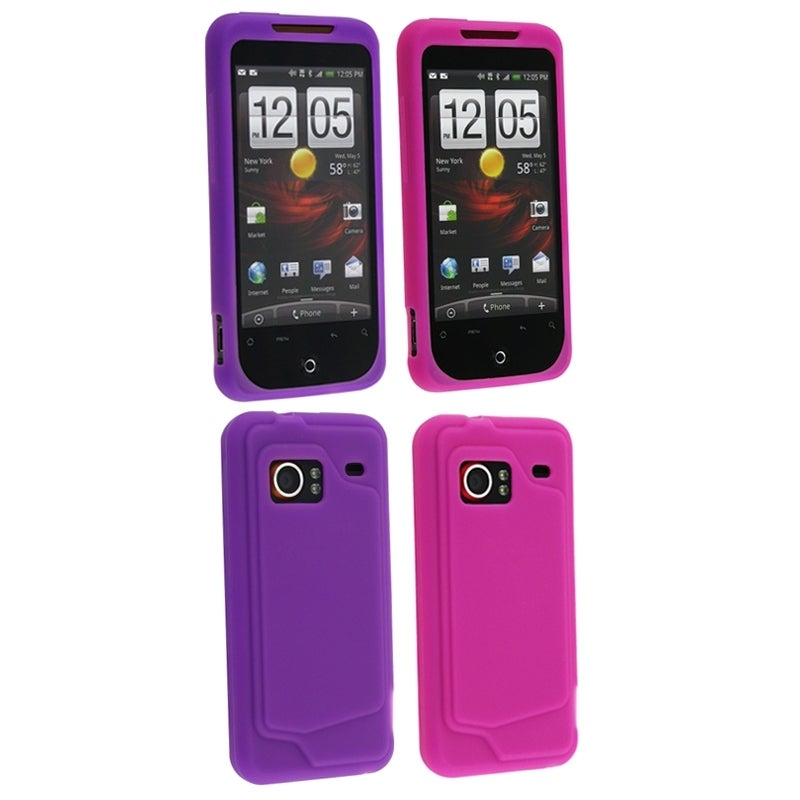 BasAcc 2-pack Pink/ Dark Purple Silicone Case for HTC Droid Incredible