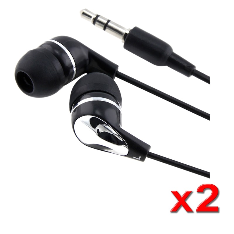 INSTEN 3.5mm In-Ear Stereo Headset, Black / Silver (Pack of 2)