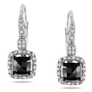 Miadora 14k White Gold 1ct TDW Black and White Diamond Earrings (H-I, I1-I2)