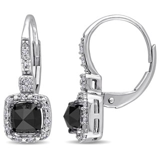 Miadora 14k White Gold 1ct TDW Black and White Diamond Earrings (H-I, I1-I2)
