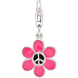 Sterling Silver Pink and Black Enamel Flower Peace Charm