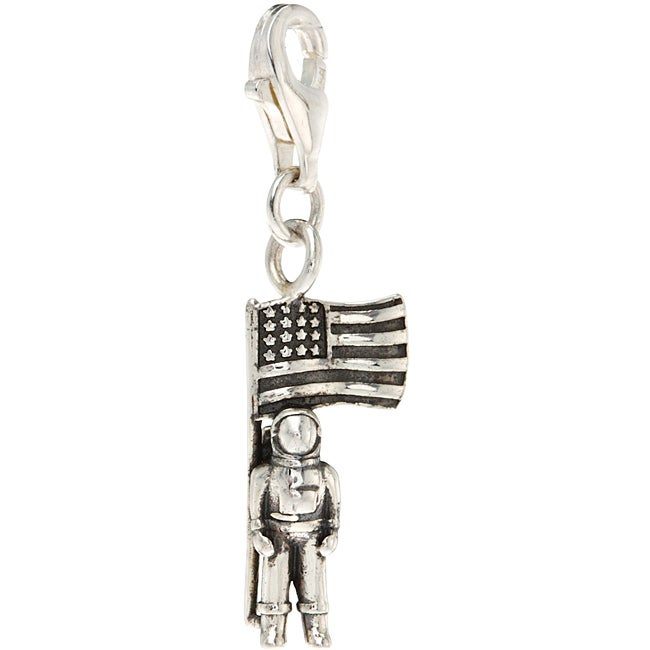 Sterling Silver Astronaut and American Flag Charm