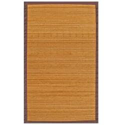 Natural Bamboo Rug with Brown Border (4' x 6')