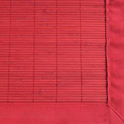 Red Rayon from Bamboo Rug with Red Border (5' x 8')
