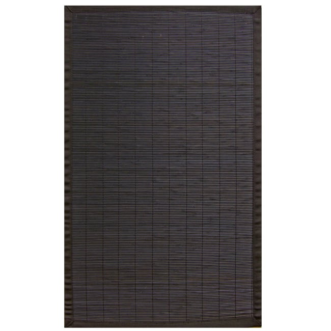 Midnight Rayon from Bamboo Rug with Black Border (4' x 6')
