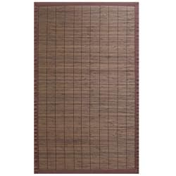 Espresso Bamboo Rug with Brown Border (4' x 6')