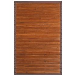 Truffle Bamboo Rug with Brown Border (4' x 6')