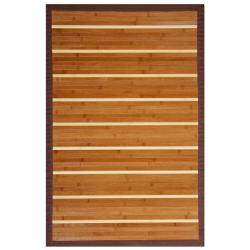 Teak and Holly Bamboo Rug with Brown Border (4' x 6')