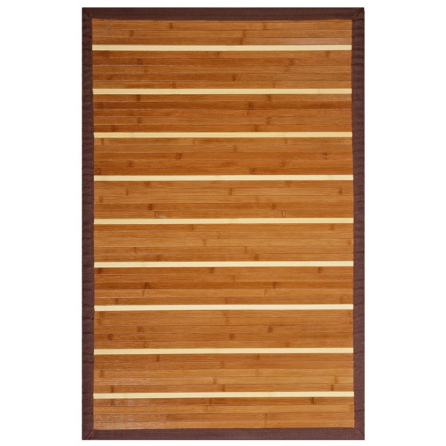 Teak and Holly Rayon from Bamboo Rug with Brown Border (5' x 8')