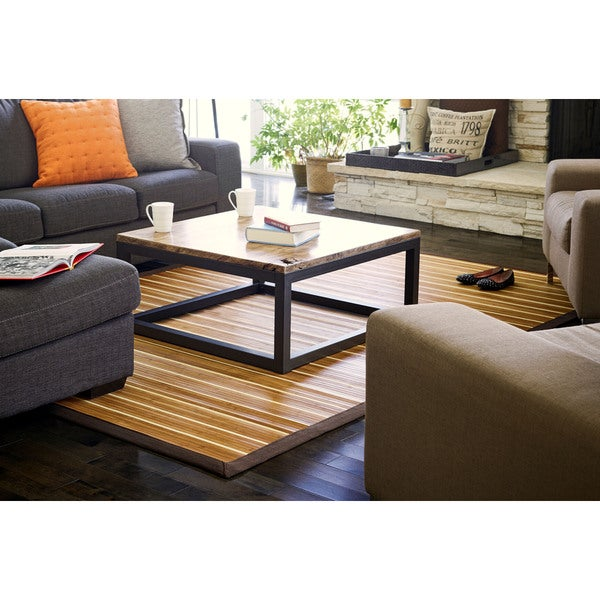 Jani Teak and Holly Bamboo Rug with Brown Border (5' x 8')