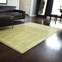 Citroen Green Rayon from Bamboo Rug with Tan Border (4' x 6')
