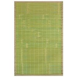 Citroen Green Bamboo Rug with Tan Border (4' x 6')