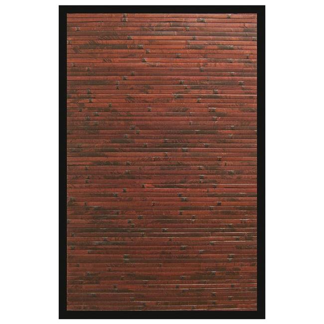 Apyan Mahogany Bamboo Rug with Black Border (5' x 8')