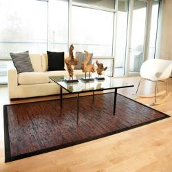 Apyan Mahogany Bamboo Rug with Black Border (5' x 8')