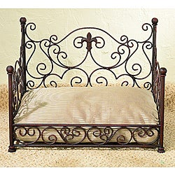 Antique Brown Fleur de Lis Iron Pet Bed