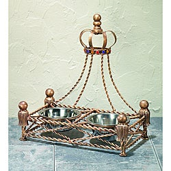 Antique Gold Iron Crown Canopy Pet Feeder and Water Bowl Set