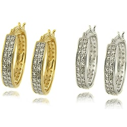 Finesque Sterling Silver Diamond Accent Hoop Earrings
