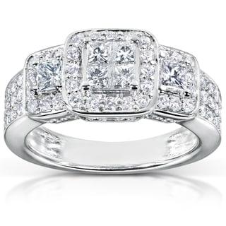 Annello 14k White Gold 1ct TDW Diamond Engagement Ring (H-I, I1-I2) with Bonus Item