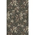 South Beach Indoor/Outdoor Green Leaves Rug (5' x 8')