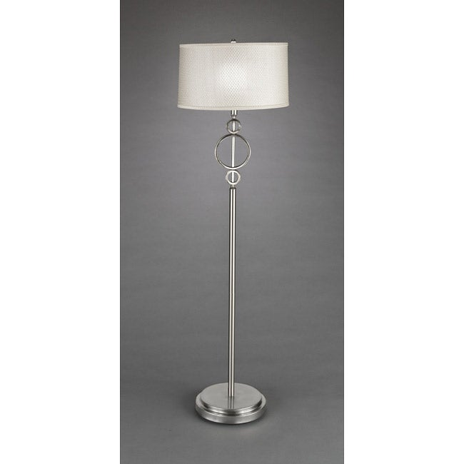 Contemporary 1-Light Brushed-Nickel White Floor Lamp