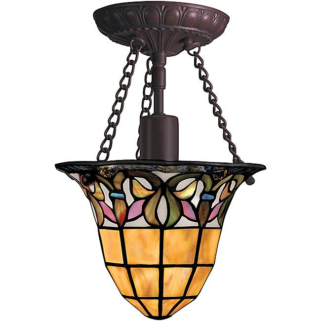Tiffany-style Bronze 1-light Semi-flush Light Fixture
