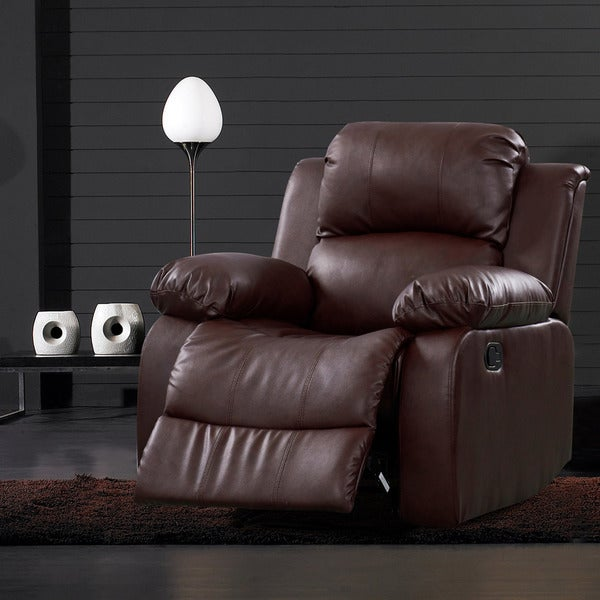 Rotunda Bonded Leather Brown Reclining Chair