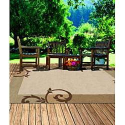 South Beach Indoor/Outdoor Beige Scroll Rug (5' x 8')