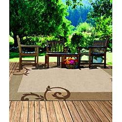 South Beach Indoor/Outdoor Beige Scroll Rug (3'9 x 5'9)