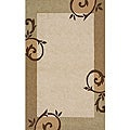 South Beach Indoor/Outdoor Beige Scroll Rug (2' x 3')