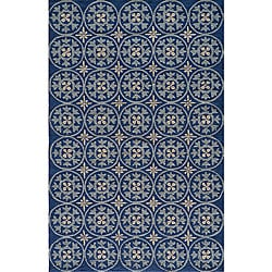 South Beach Indoor/Outdoor Blue Celebration Rug (5' x 8')