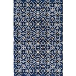 South Beach Indoor/Outdoor Blue Celebration Rug (2' x 3')