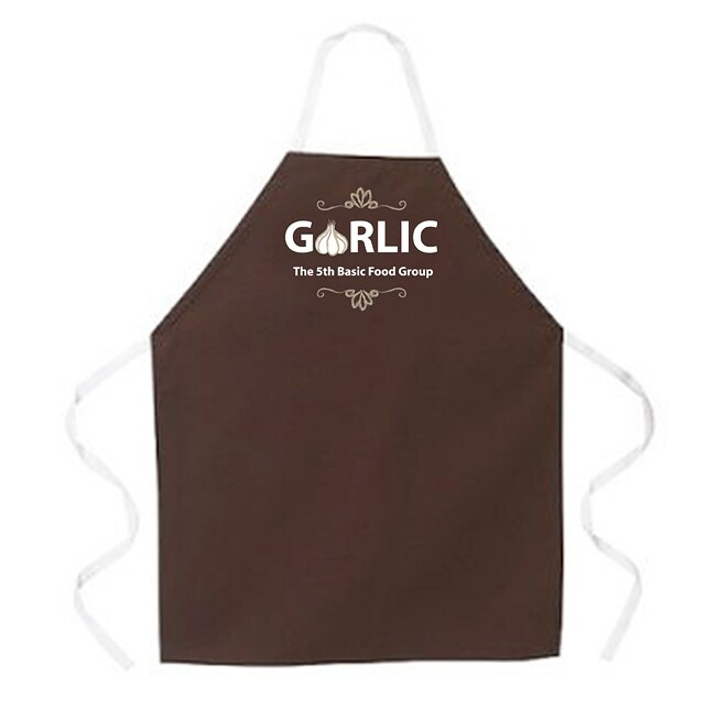 Attitude Aprons 'Garlic Food Groups' Brown Apron