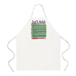 Attitude Aprons 'Dad's Rules' White Apron