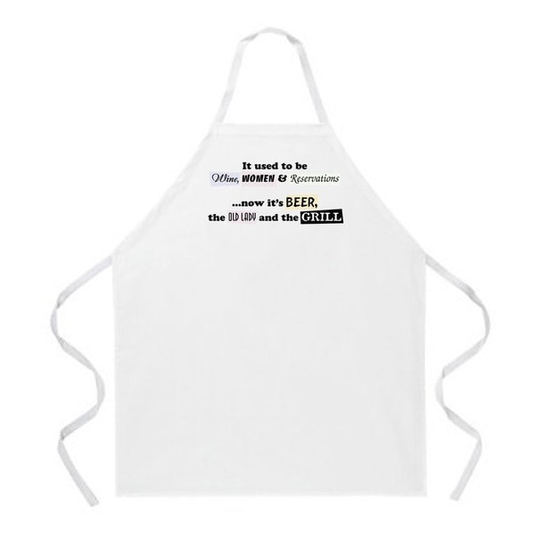 Attitude Aprons 'Wine, Women and Reservations' White Apron