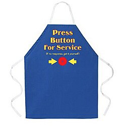 Attitude Aprons 'Press Button' Blue Apron