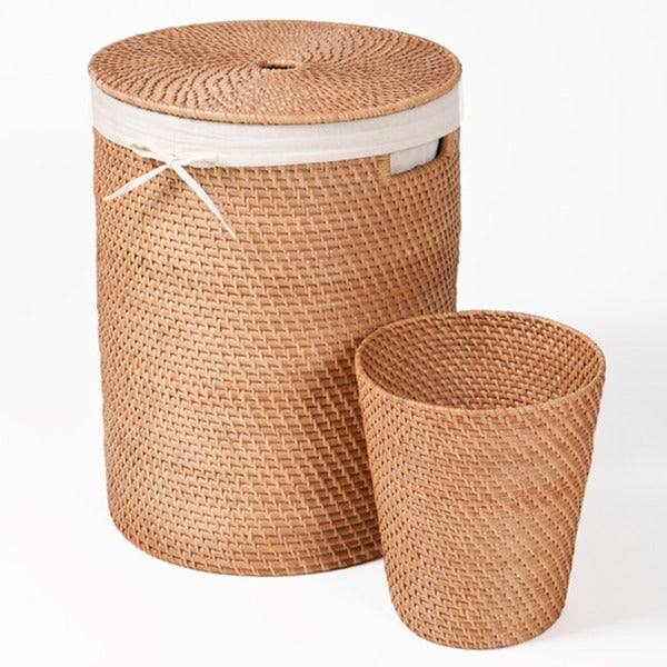 Seville Classics Rattan Hamper and Wastebasket Set